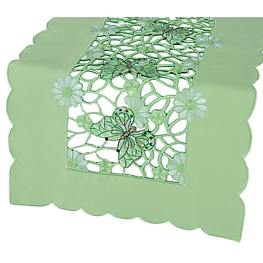 Xia Home Fashions Emerald Mariposa Embroidered Cutwork Table Runner; 16'' x 34''