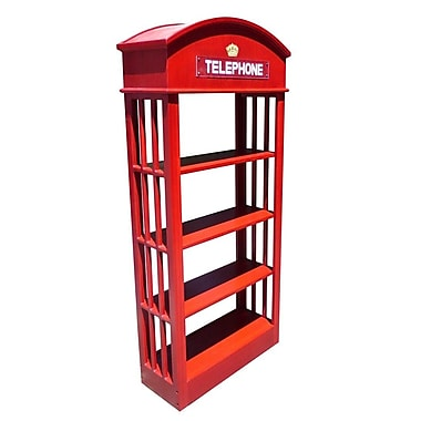D-Art Collection London Telephone 70'' Accent Shelves Bookcase