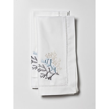 Jacaranda Living Coral Embroidered Dinner Napkin (Set of 2)