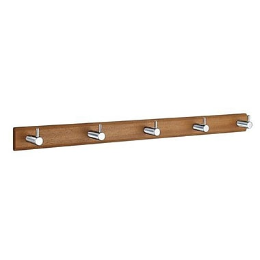 Smedbo Beslagsboden 5 Hook Wall Mounted Coat Rack; Brushed Stainless Steel