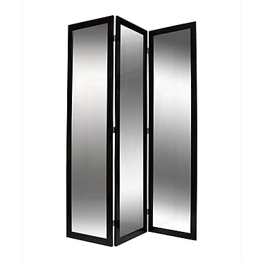 Screen Gems 69'' x 50'' Mirror 3 Panel Room Divider; Brown