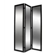 Screen Gems 69'' x 50'' Mirror 3 Panel Room Divider; Black Lacquer