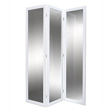 Screen Gems 69'' x 50'' Mirror 3 Panel Room Divider; White Lacquer