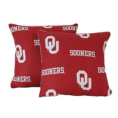College Covers NCAA Oklahoma Cotton Throw Pillow (Set of 2)