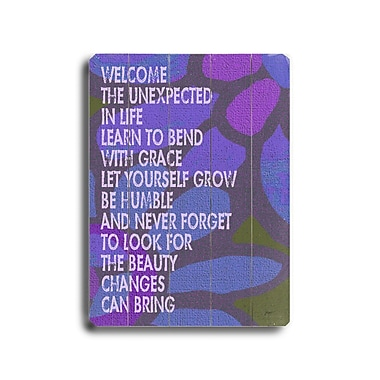 Artehouse LLC Welcome the Unexpected by Lisa Weedn Textual Art Plaque