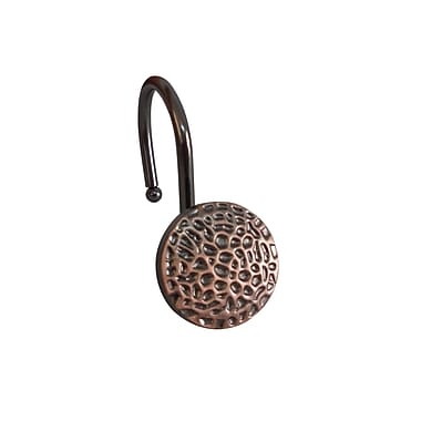 Elegant Home Fashions Hammered Surface Look Shower Curtain Hooks (Set of 12); Oil Rubbed Bronze