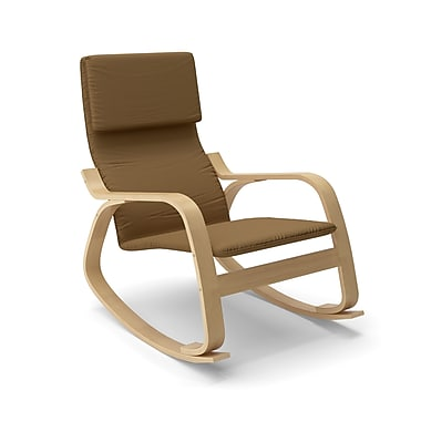 Corliving Aquios Bentwood Contemporary Rocking Chair, Warm Brown