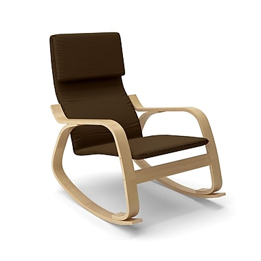 Corliving Aquios Bentwood Contemporary Rocking Chair, Dark Coffee