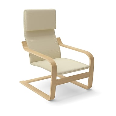 Corliving Aquios Bentwood Contemporary Arm Chair, Warm White