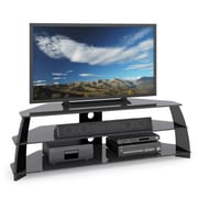 Corliving Tap-609-T Taylor Extra Wide TV Stand With Glass Shelves, Glossy Black