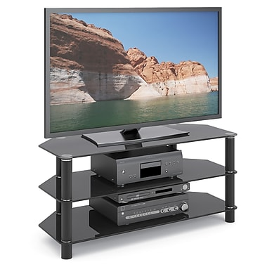 Corliving Tra-703-T Trinidad Glass TV/Component Stand, Black