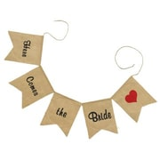 "HBH™ 10"" x 8"" ""Here Comes The Bride"" Burlap Banner, Black/Brown/Red"
