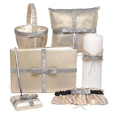 HBH™ Metallic Sparkle Collection Wedding Accessories Set, Gold Metallic