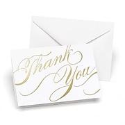 """Hortense B. Hewitt, 3-1/2"""" x 4-7/8"""", Unending Gratitude Wedding Thank You Card, White/Gold Foil, 50/Pack"""