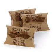 "HBH™ 4 1/2"" x 2 7/8"" Thank You From the Mr. & Mrs. Western Style Pillow Favor Boxes, Kraft"