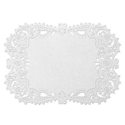 "HBH™ 17 1/2"" x 12 1/4"" Place Mat With Laser-Cut Filigree Design, White"