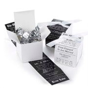 "HBH™ 2"" x 2"" Favor Boxes With Reversible Announcement Wrap, White/Black"