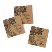 "HBH™ 1 3/4"" x 1 3/4"" Vintage Floral Favor Card, Kraft"