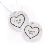 "HBH™ 2"" x 2"" Rustic Heart Thank You Favor Card, White/Brown"