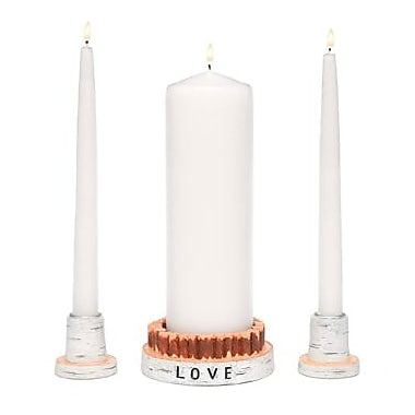 HBH™ Faux-Birch Rustic Love Candle Resin Holder Set, White