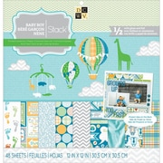 """Diecuts With A View® Baby Boy 3 Paper Stack, 12"""" x 12"""", 48 Sheets"""