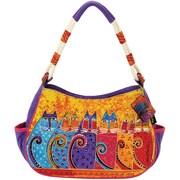 Laurel Burch® Medium Hobo Bag With Zipper Top, Feline Tribe