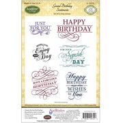 "Justrite® Papercraft 5 1/2"" x 8 1/2"" Cling Stamp Set, Grand Birthday Sentiments"