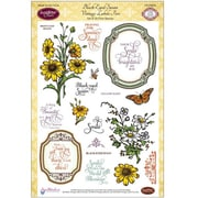 "Justrite® Papercraft 6"" x 8"" Five Clear Stamp Set, Eyed Susan Vintage Labels"