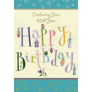 Greeting Cards, Birthday, Age 30, 18/Pack