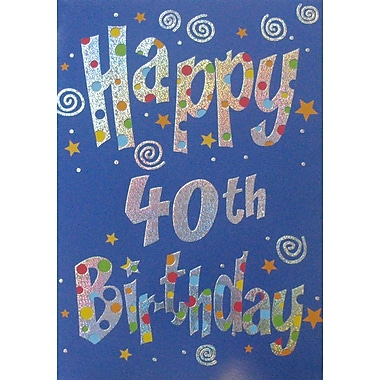 Greeting Cards, Birthday, Age 40, 18/Pack