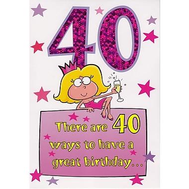Cartes de souhaits, anniversaire, 40 ans, humour, 18/paquet