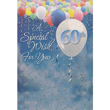 Greeting Cards, Birthday, Age 60, Balloons, 18/Pack