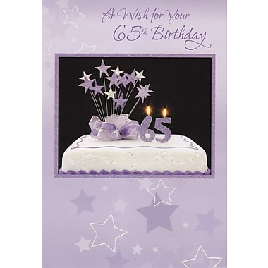Greeting Cards, Birthday, Age 65, Purple, 18/Pack