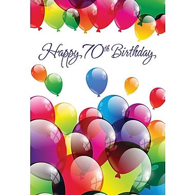 Greeting Cards, Birthday, Age 70, Balloons, 18/Pack