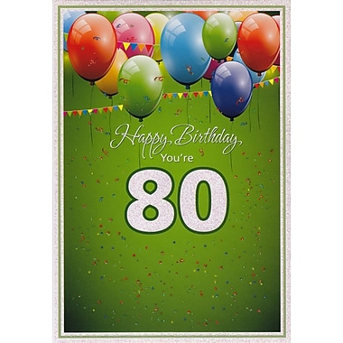 Greeting Cards, Birthday, Age 80, Balloons, 18/Pack