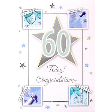 Greeting Cards, Birthday, Age 60, 18/Pack