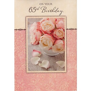 Greeting Cards, Birthday, Age 65, Pink Flowers, 18/Pack