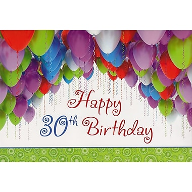 Greeting Cards, Birthday, Age 30, Balloons, 18/Pack