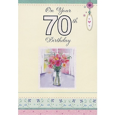 Greeting Cards, Birthday, Age 70, Flowers, 18/Pack