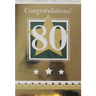 Greeting Cards, Birthday, Age 80, Stars, 18/Pack