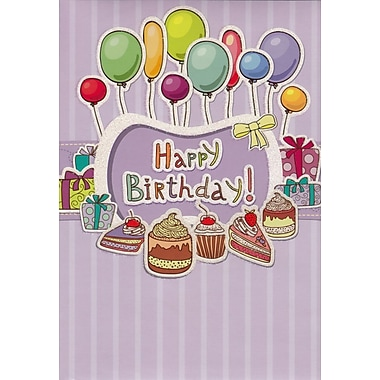 Cartes de souhaits, « Happy Birthday », violettes, paquet de 18