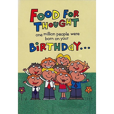 A-Line – Cartes de souhaits, « Food for Thought one million people were born on your... Birthday », 18/paquet