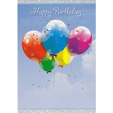 Greeting Cards, Happy Birthday, Floating Balloons, 18/Pack