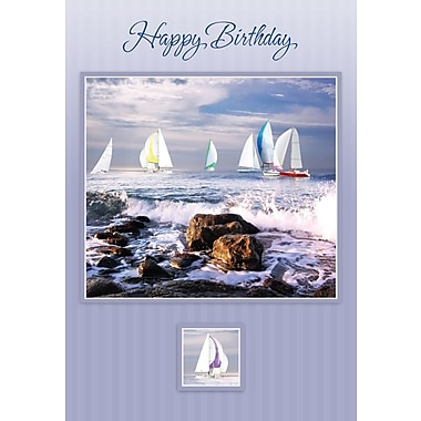Cartes de souhaits, « Happy Birthday », voiliers, paquet 18