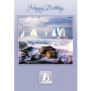 Greeting Cards, Happy Birthday, Sailboats, 18/Pack