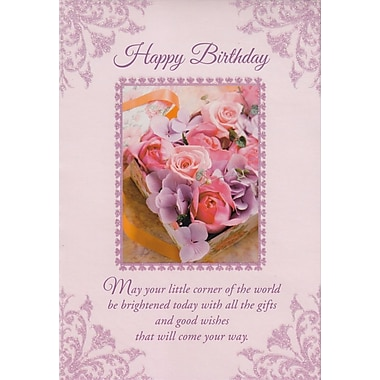 Greeting Cards, Happy Birthday, Pink Flowers, 18/Pack