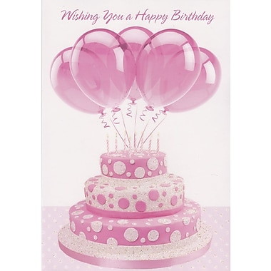Greeting Cards, Wishing You A Happy Birthday, Pink Cake & Balloons, 18/Pack