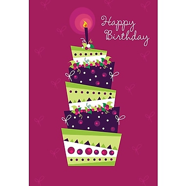Greeting Cards, Happy Birthday, Layered Cake, 18/Pack