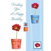 Cartes de souhaits, « Wishing You A Happy Birthday », fleurs, 18/paquet