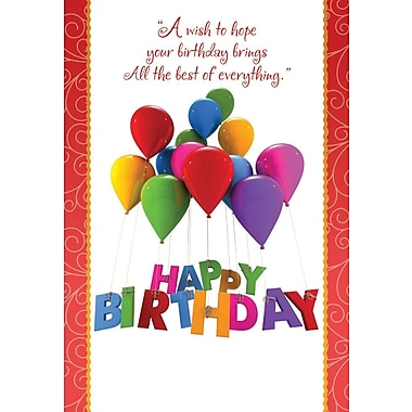Greeting Cards, Happy Birthday, Balloons, 18/Pack
